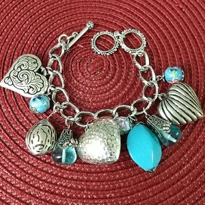Jewelry - 🔥Light Blue and Silver Hearts Bracelet